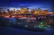 Canadian Scenery Framed Prints - Edmonton Winter Skyline Framed Print by Corey Hochachka