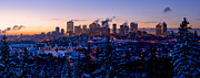 Edmonton Framed Prints - Edmonton Wintertime Skyline Framed Print by Terry Elniski