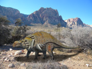 Prehistoric Mixed Media - Edmontonia in Desert by Frank Wilson