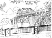 Alabama Drawings Prints - Edmund Pettus Bridge Print by Barney Hedrick