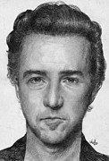 Parchment Drawings Prints - Edward Norton Print by Bianca Ferrando
