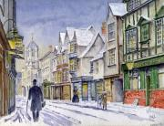 Night Lamp Painting Posters - Edwardian St. Aldates. Oxford UK Poster by Mike Lester