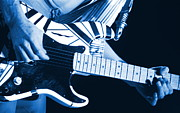 Edward Van Halen Art - Edwards Blue Guitar by Ben Upham