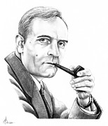 Famous People Drawings - Edwin Hubble by Murphy Elliott