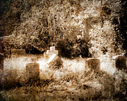 Headstones Digital Art Prints - Eerie Cemetery Print by Sonja Quintero