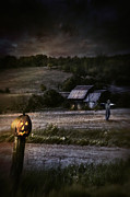 Omnimous Posters - Eerie night scene with Halloween pumpkin on fence Poster by Sandra Cunningham