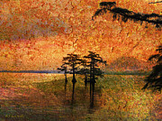 Cypress Tree Digital Art Framed Prints - Eerie Sunrise  Framed Print by J Larry Walker