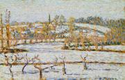 Camille Pissarro Painting Posters - Effect of Snow at Eragny Poster by Camille Pissarro