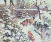 Winter Scenes Rural Scenes Prints - Effect of Snow at Montfoucault Print by Camille Pissarro
