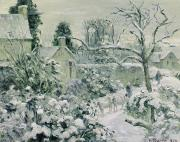 Back Yard Paintings - Effect of Snow with Cows at Montfoucault by Camille Pissarro