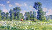Farm Fields Painting Framed Prints - Effect of Spring at Giverny Framed Print by Claude Monet