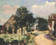 Farm Houses Posters - Effect of the Sun Poster by Jean Baptiste Armand Guillaumin