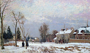 Road Painting Framed Prints - Effects of Snow Framed Print by Camille Pissarro