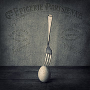 Monochromatic  Prints - Egg and Fork Print by Ian Barber