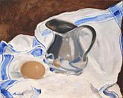 Pitchers Painting Metal Prints - Egg and Pitcher on French Cloth Metal Print by Barbara Andolsek