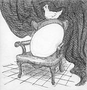 Chicken Drawings Framed Prints - Egg in Chair Sketch Framed Print by Phil Burns