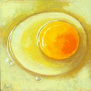 Linda Apple Posters - Egg on a Plate - realism painting Poster by Linda Apple