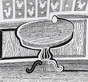Panel Drawings - Egg on Table Sketch by Phil Burns