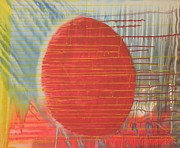 Drips Painting Originals - Egg Shaped Red Orb by James Howard