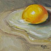 Kristine Kainer Paintings - Egg Yolk No. 1 by Kristine Kainer