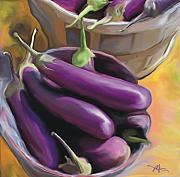 Culinary Mixed Media Metal Prints - Eggplant Metal Print by Bob Salo