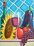 Grapes Painting Posters - Eggplant Poster by D T LaVercombe