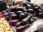 Eggplants And Fingerling Potatoes Print by David Bearden