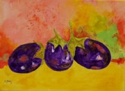 Corporate Painting Prints - Eggplants Print by Donna Frost