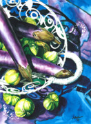 Vegetables Prints - Eggplants Print by Nadi Spencer