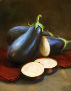 Illustrated Posters - Eggplants Poster by Robert Papp