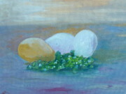 Impasto Paintings - Eggs and Capers by Conor Murphy