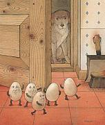Brown Dog Framed Prints - Eggs and Dog Framed Print by Kestutis Kasparavicius