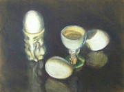 Eggs Pastels Posters - Eggs and Eggcups Poster by Ruth Greenlaw