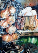 Larder Framed Prints - Eggs and Onions in the Larder  Framed Print by Trudi Doyle