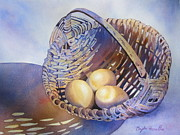 Still-life With A Basket Posters - Eggs in a Basket Poster by Daydre Hamilton