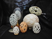 Carved Sculpture Posters - Eggshells 1 Poster by Christina A Pacillo