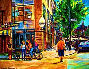 Montreal Summerscenes Prints - Eggspectation Cafe On Esplanade Print by Carole Spandau