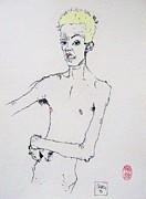 Schiele Drawings - Egon with Conch by Roberto Prusso