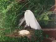 Egret And Nest Print by Nancy Jane Davis