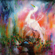 Egret Paintings - Egret Dreams  by Ginette Fine Art LLC Ginette Callaway