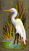 Egret Paintings - Egret by Elaine Hodges