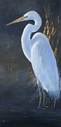 Great Blue Heron Paintings - Egret by Kathleen Tucker