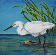 Stir Painting Prints - Egret Print by Nancy Yarnall von Halle