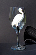 Hand Painted Glassware - Egret on Wineglass by Pauline Ross