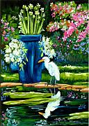 Florida Flowers Mixed Media Framed Prints - Egret visits goldfish pond Framed Print by Carol Allen Anfinsen