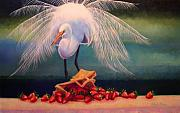 Egret Painting Originals - Egret With Strawberry Bag by Valerie Aune