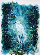 Egret Paintings - Egret by Zaira Dzhaubaeva