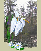 Kevin Brant Art - Egrets and Cypress Pond by Kevin Brant