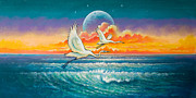 Tropical Paintings - Egrets in Flight by Keith Stillwagon