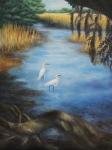 Egrets Paintings - Egrets on the Ashley at Charles Towne Landing by Pamela Poole